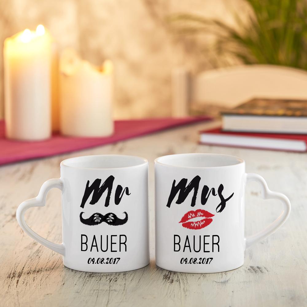 Tassen mit Gravur zur Hochzeit - Herz-Henkel - Mr Mrs