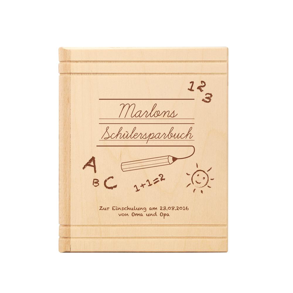 Spardose Buch aus Holz mit Gravur Einschulung - Personalisiert