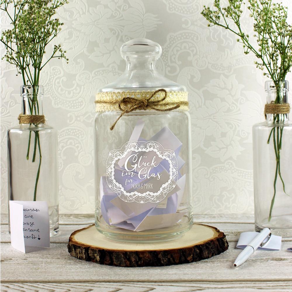 Bonbonglas mit Gravur - Glück im Glas - Vorratsglas - Personalisiert