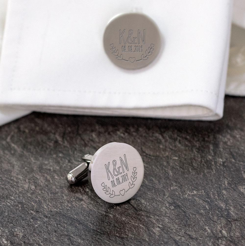 Manschettenknöpfe mit Gravur zur Hochzeit - Blätter - Rund - Silber - 1592