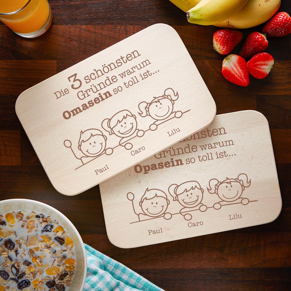 Frühstücksbrett mit Gravur - 2er Set - Warum ich es liebe - Oma Opa