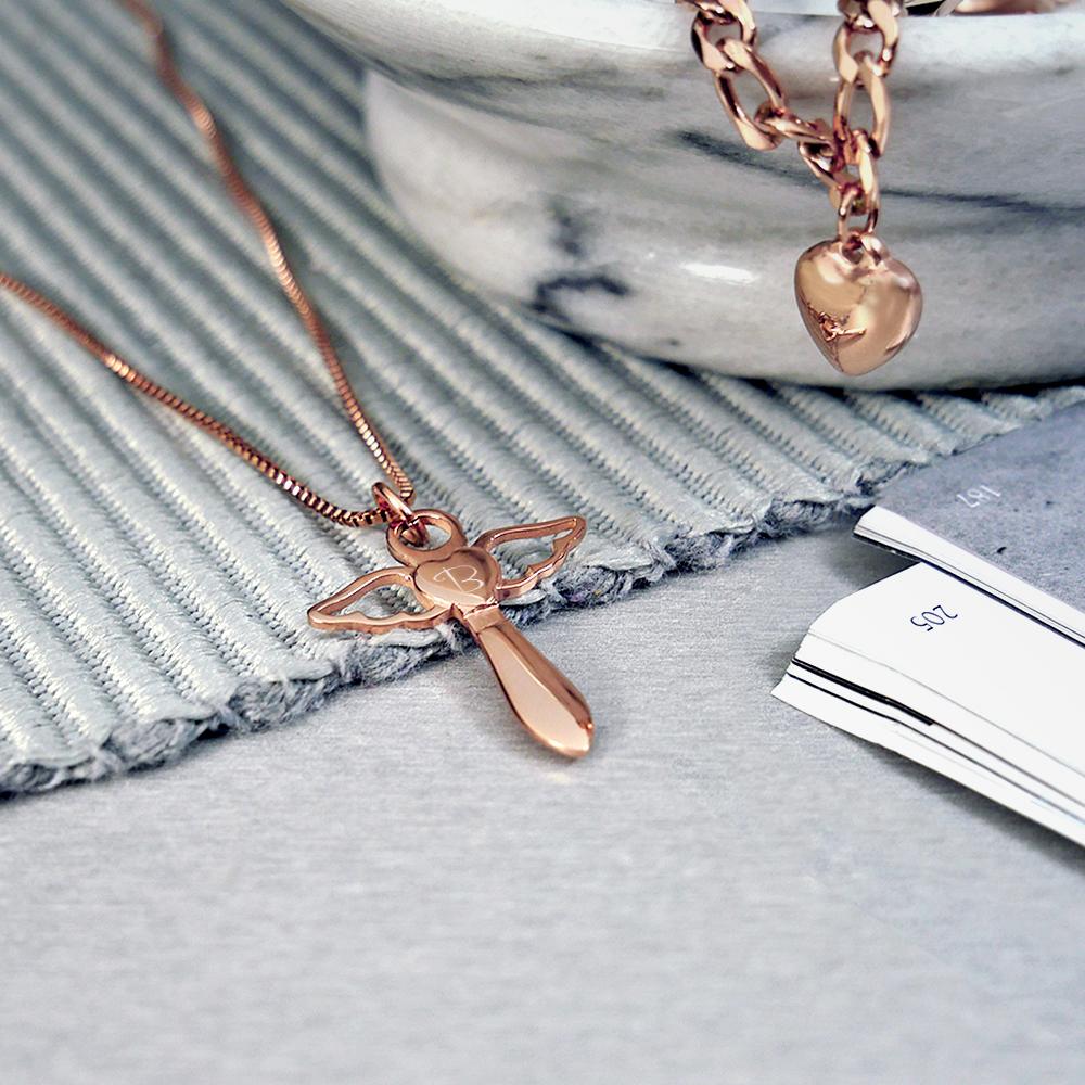 Schutzengel Kette mit Gravur - Herz Engel - Roségold - Personalisiert