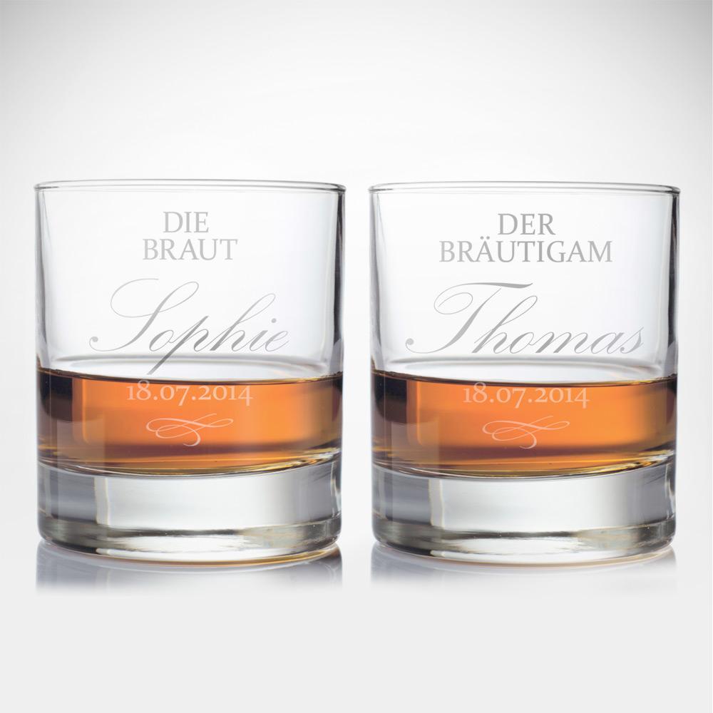 Whiskygläser mit Gravur zur Hochzeit - Braut und Bräutigam