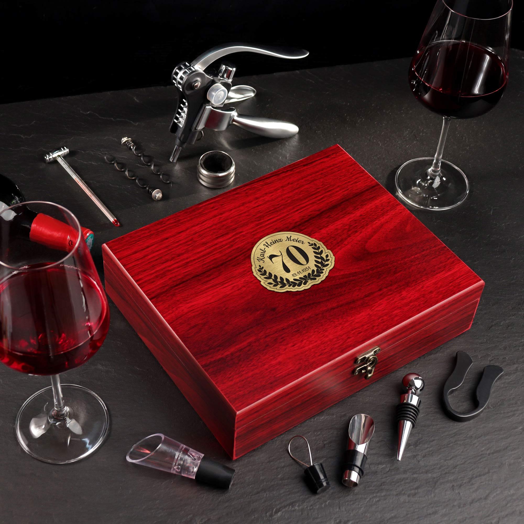 Wein Sommelier Set mit Gravur zum 70. Geburtstag