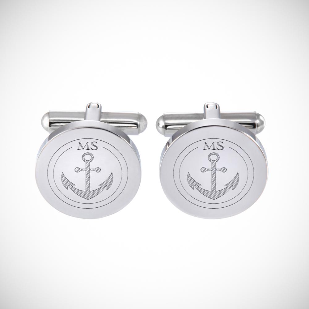 Manschettenknöpfe mit Gravur - Initialen - Rund - Anker - Silber