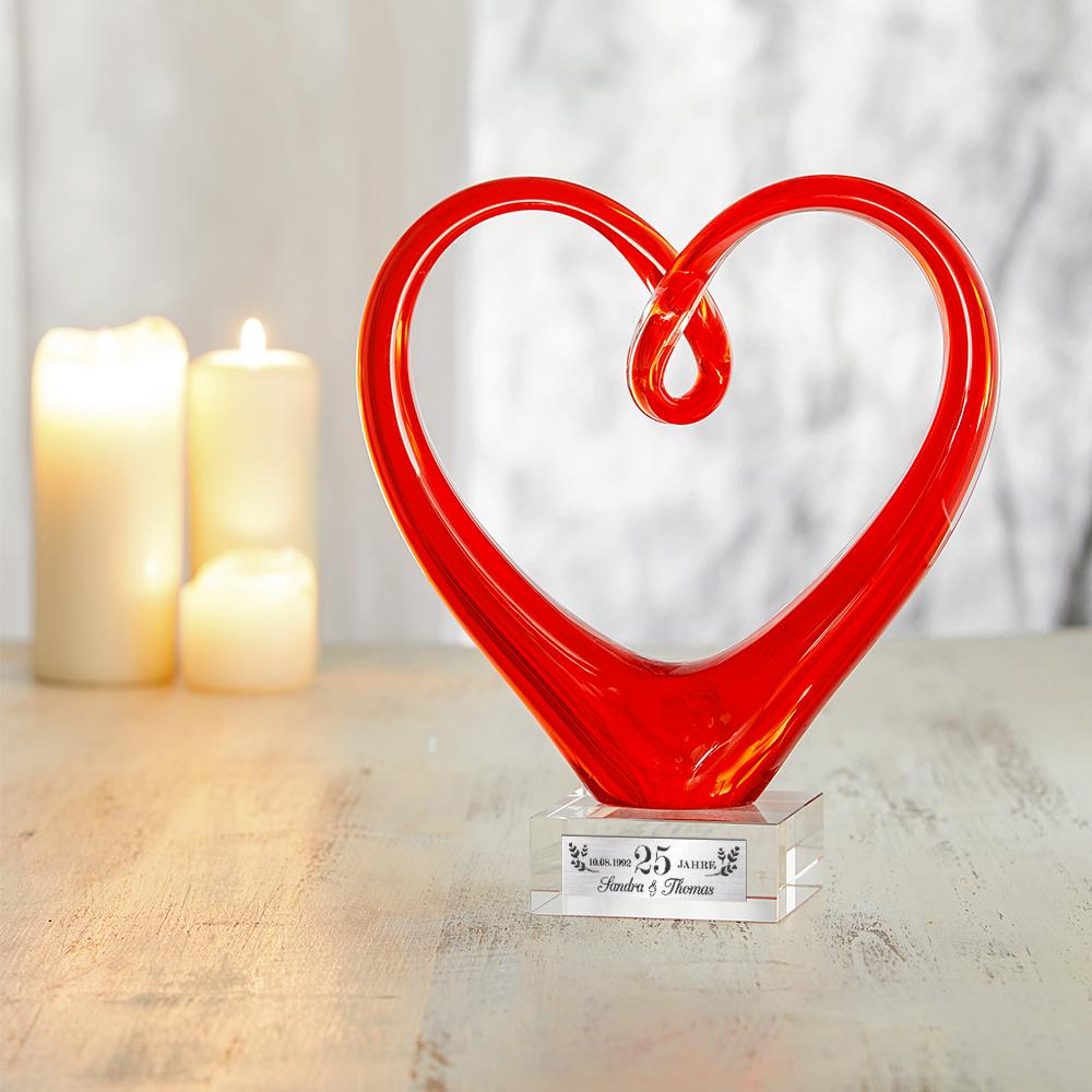 Herz aus Glas mit Gravur zur Silberhochzeit - Personalisiert