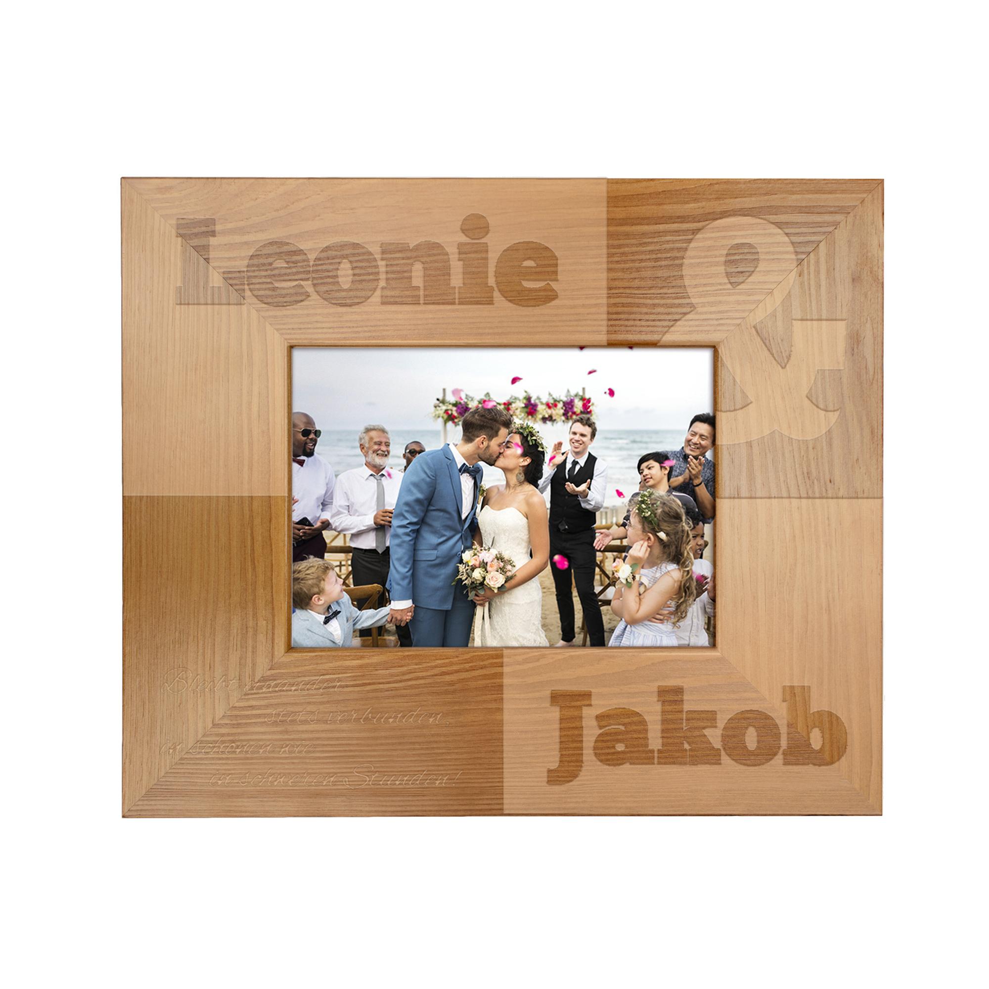 Bilderrahmen aus Holz mit Gravur zur Hochzeit - Personalisiert