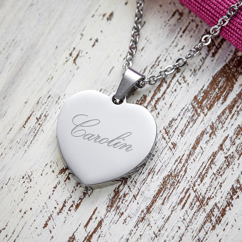 Herz Anhänger Kette mit Gravur Name - Silber - Personalisiert