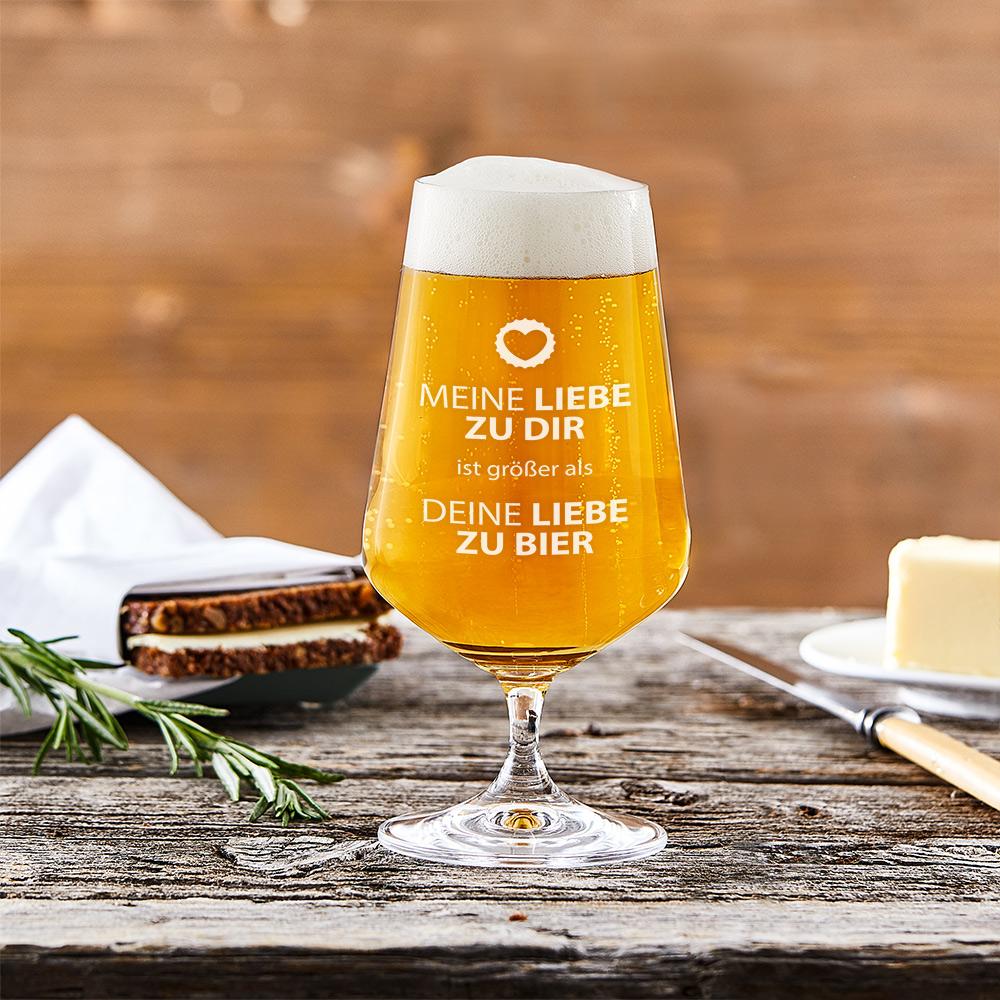Bierglas mit Gravur Liebe zu Bier - Pilsglas