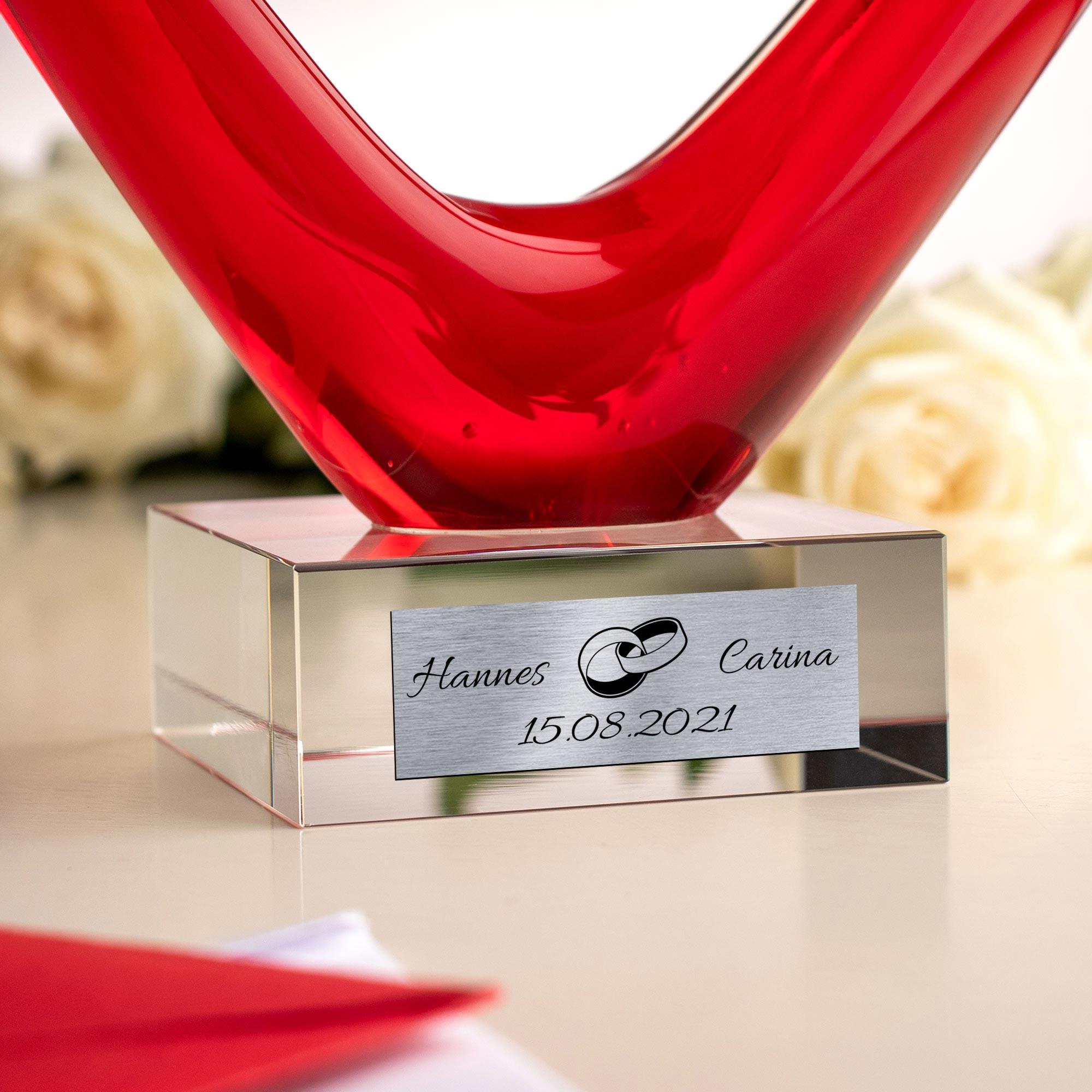 Herz aus Glas mit Gravur zur Hochzeit - Ringe - Personalisiert