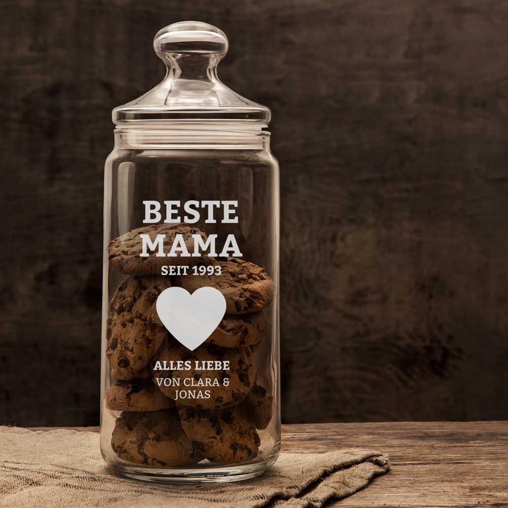Keksglas mit Gravur - Für die Beste Mama - Personalisiert
