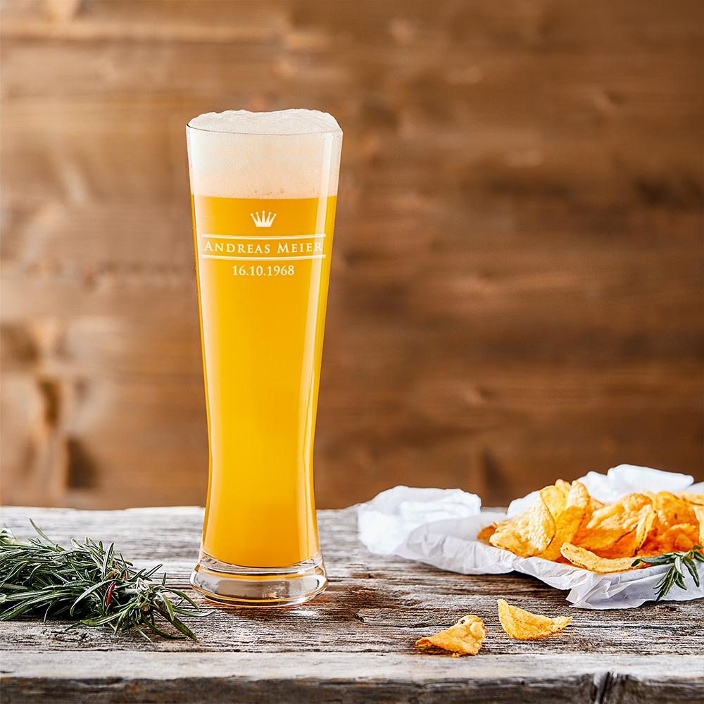 Weizenglas mit Gravur Kleine Krone - Weizenbierglas Graviert