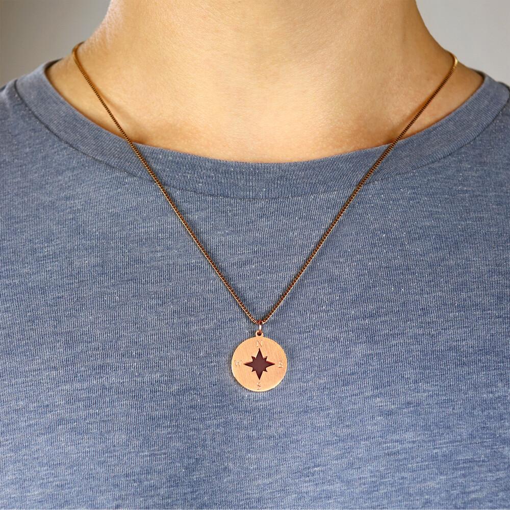 Halskette mit Gravur - Kompass und Namen - Rose - Personalisiert
