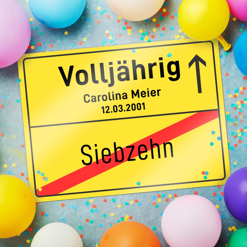 Personalisiertes Ortsschild zum Geburtstag - Volljährig