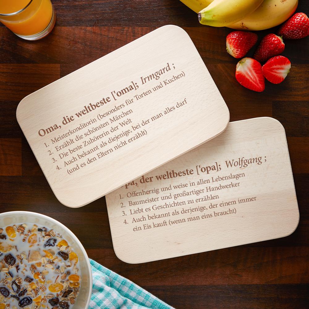 Frühstücksbrett mit Gravur - 2er Set Definition Oma Opa