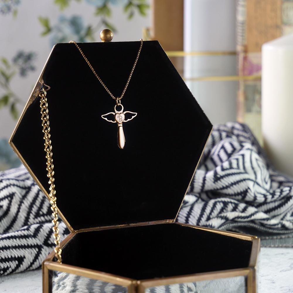Schutzengel Halskette mit Gravur Herz Engel - Gold - Initial - Personalisiert