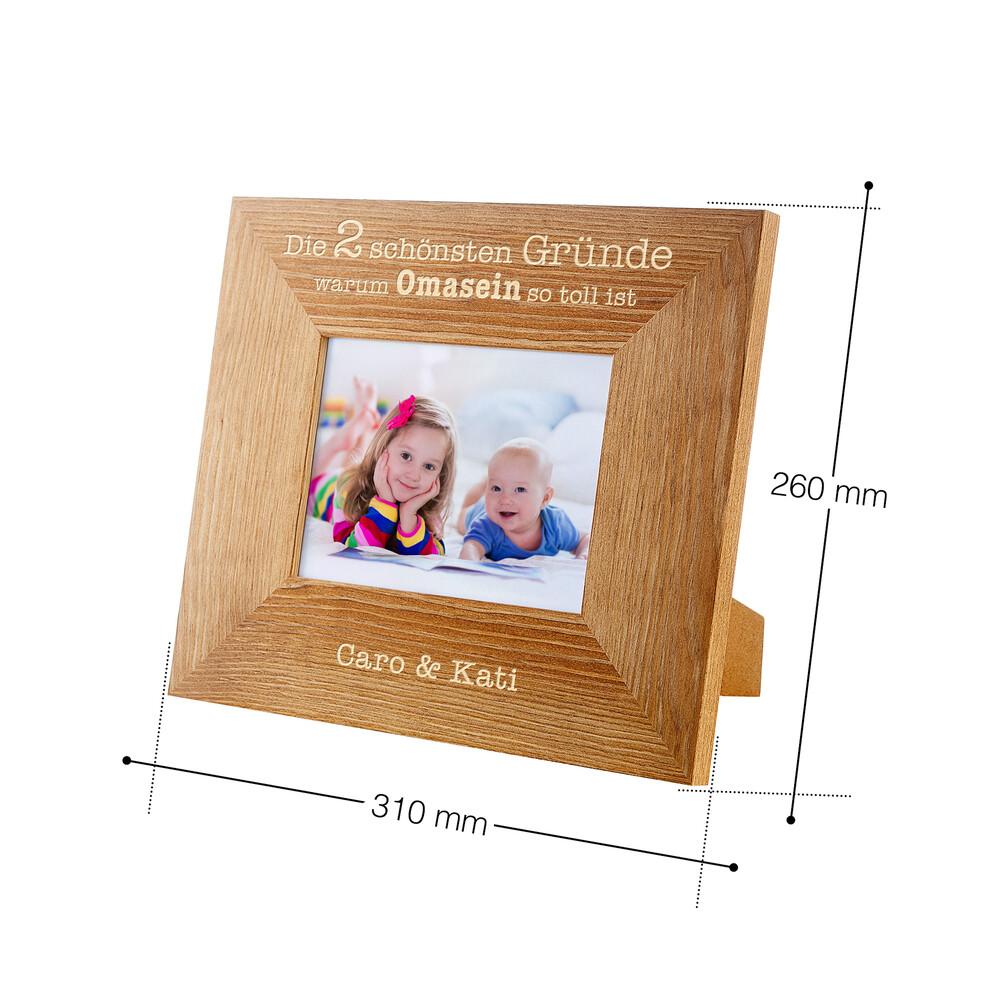 Bilderrahmen aus Holz mit Gravur - Omasein - Personalisiert
