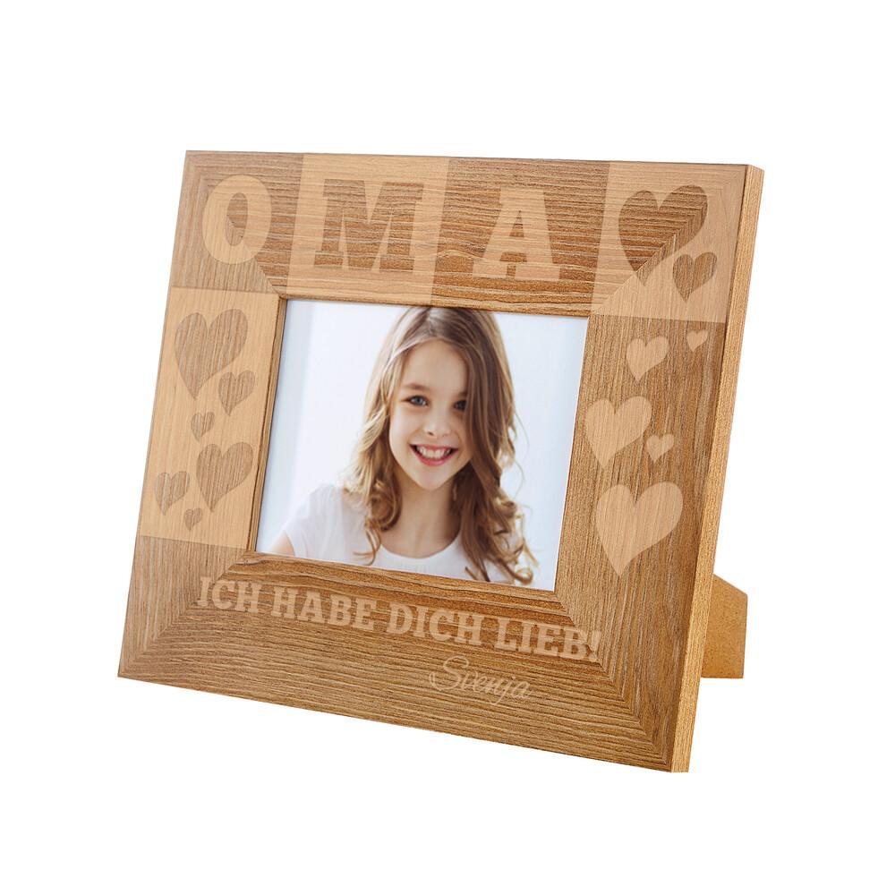 Bilderrahmen aus Holz mit Gravur für Oma - Personalisiert