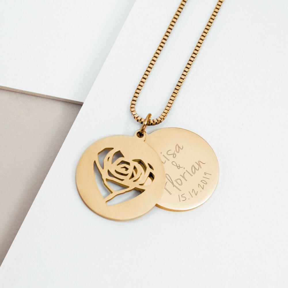 Herzkette mit Gravur - Namen und Datum - Gold - Personalisiert