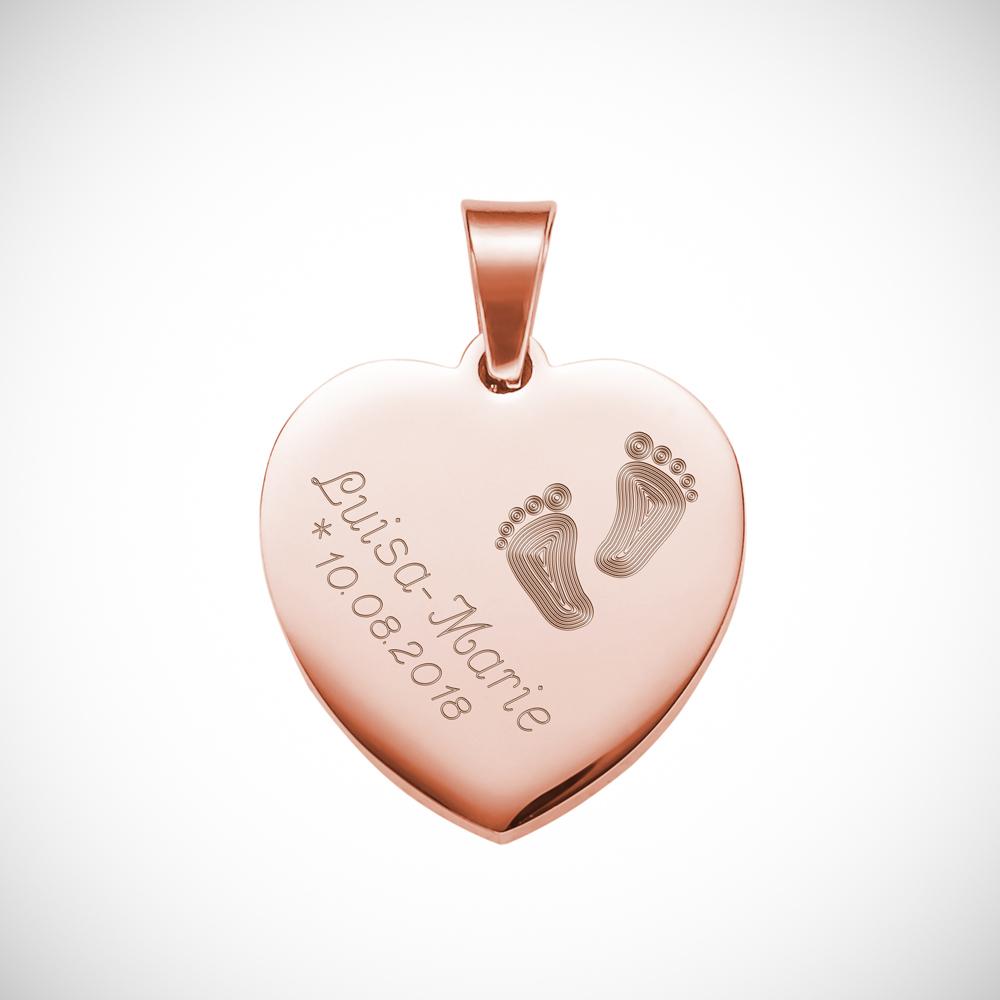 Herz Anhänger Kette mit Gravur Babyfuss - Rose - Personalisiert