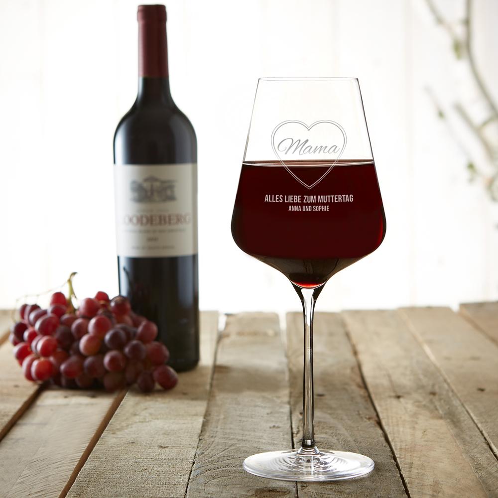 Weinglas mit Gravur Mama im Herz - Rotweinglas