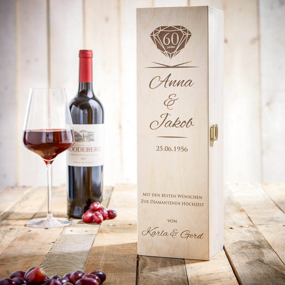 Gravierte Weinkiste zur diamantenen Hochzeit - Personalisiert