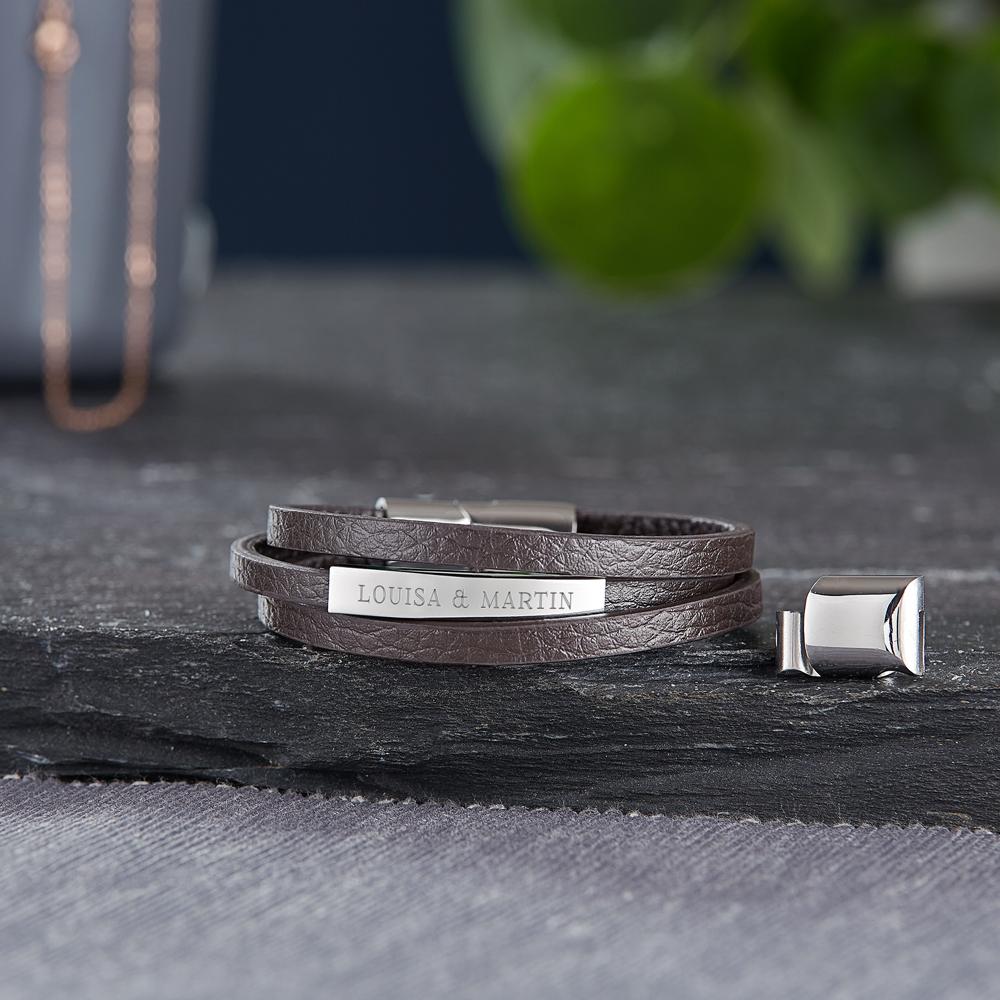 Herrenarmband mit Gravur - Leder - Braun - Armband mit Namen