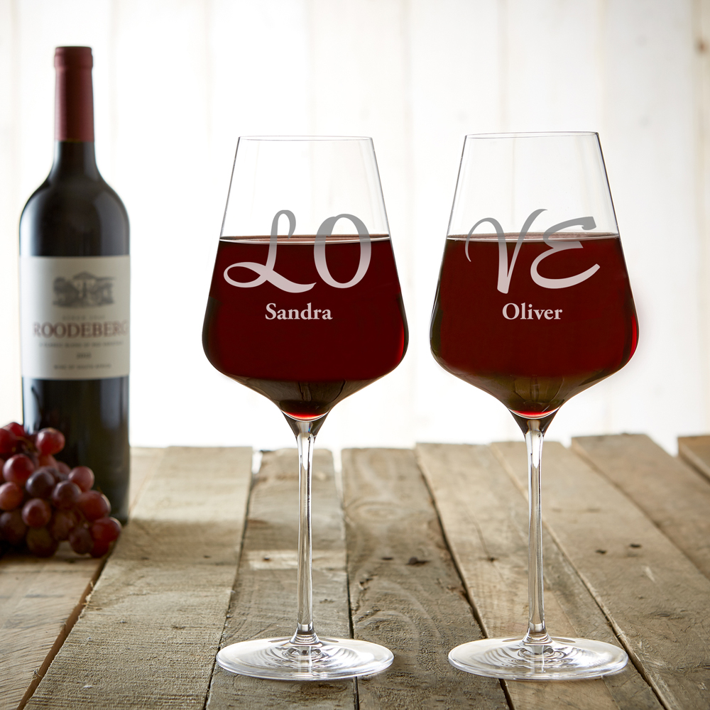 Weinglas mit Gravur Love - Personalisiert - 2er Set