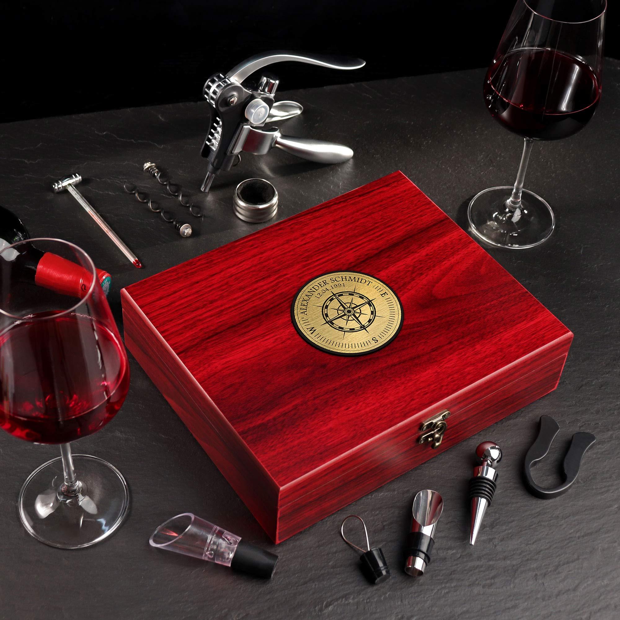 Personalisiertes Wein Sommelier Set mit Gravur - Kompass