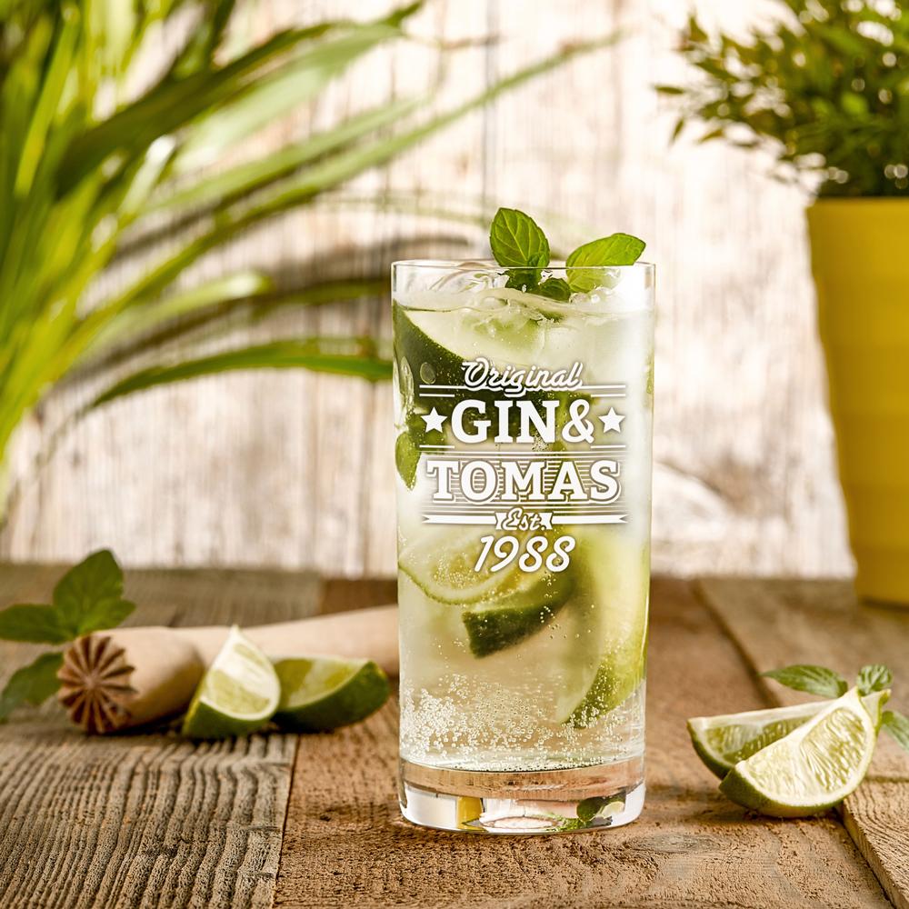 Ginglas mit Gravur - Groß - Gin und - Personalisiert