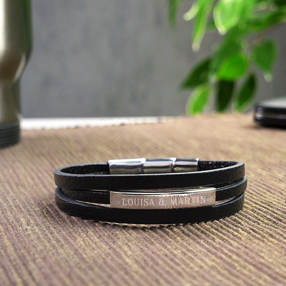 Herrenarmband mit Gravur - Leder Armband mit Namen