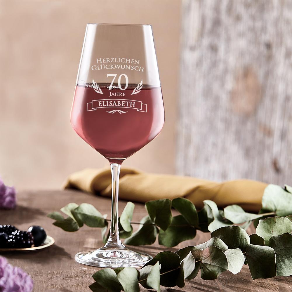 Weinglas mit Gravur - Geburtstag - 70 Jahre - Personalisiert