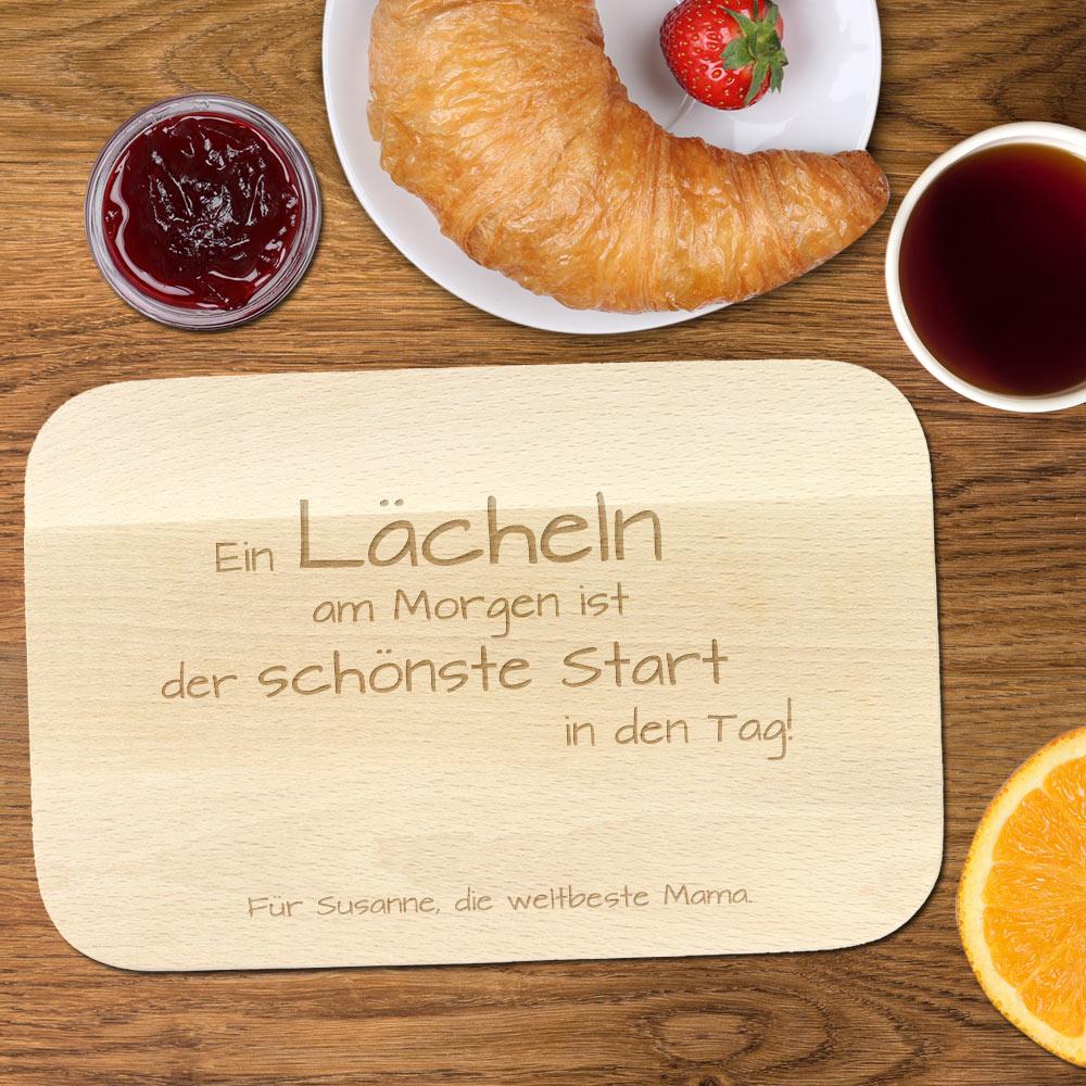 Frühstücksbrett mit Gravur und Spruch für Mama