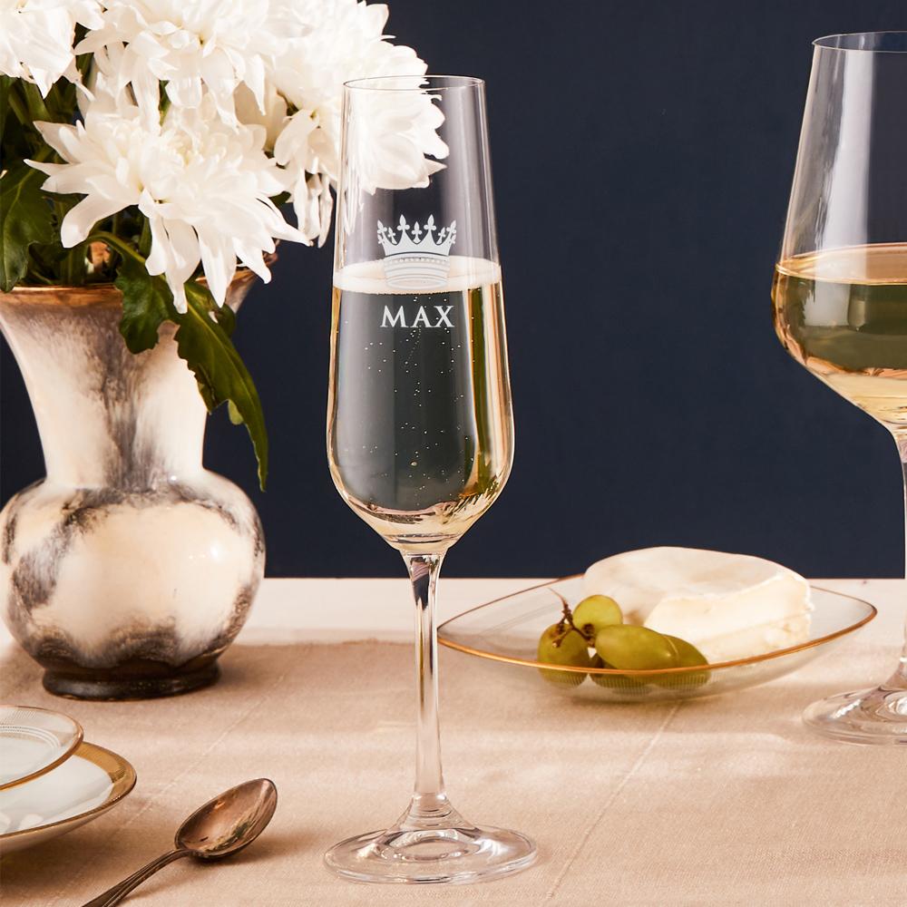 Sektglas mit Gravur Große Krone - Personalisiert