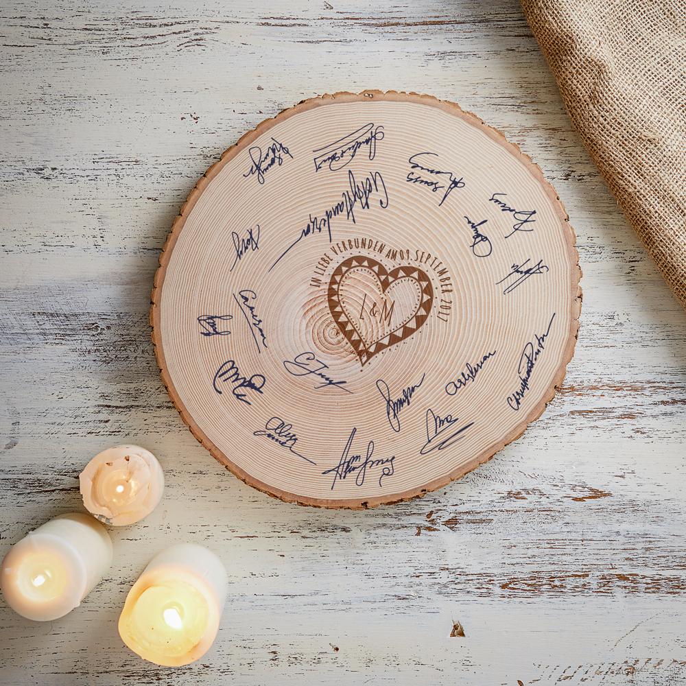 Gästebuch zur Hochzeit - Personalisierte Riesenbaumscheibe mit Gravur