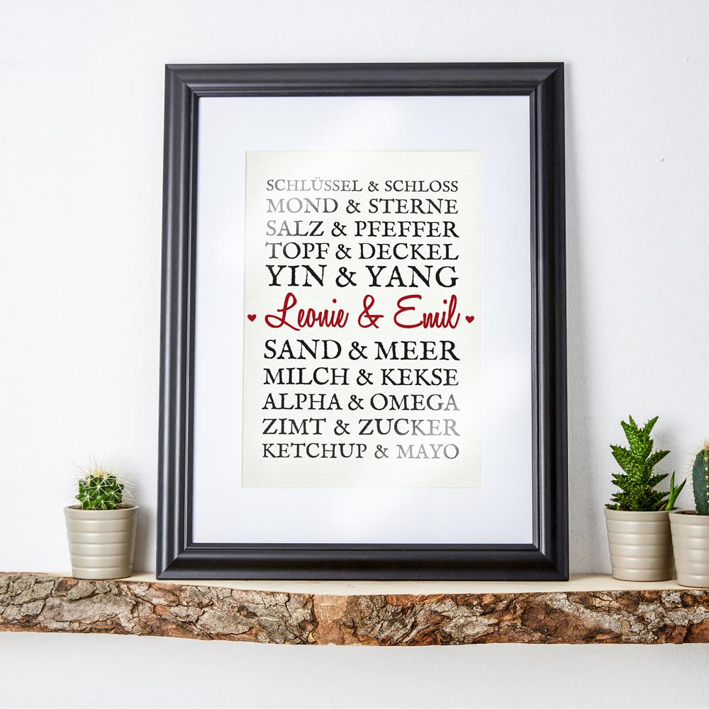 Paarworte - Romantisches Bild - Personalisiert
