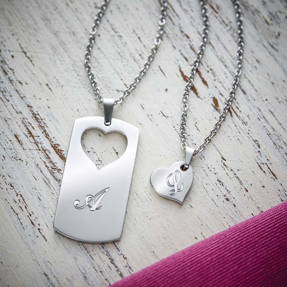 Partner Halskette mit Gravur - Herz Initialen - Personalisiert