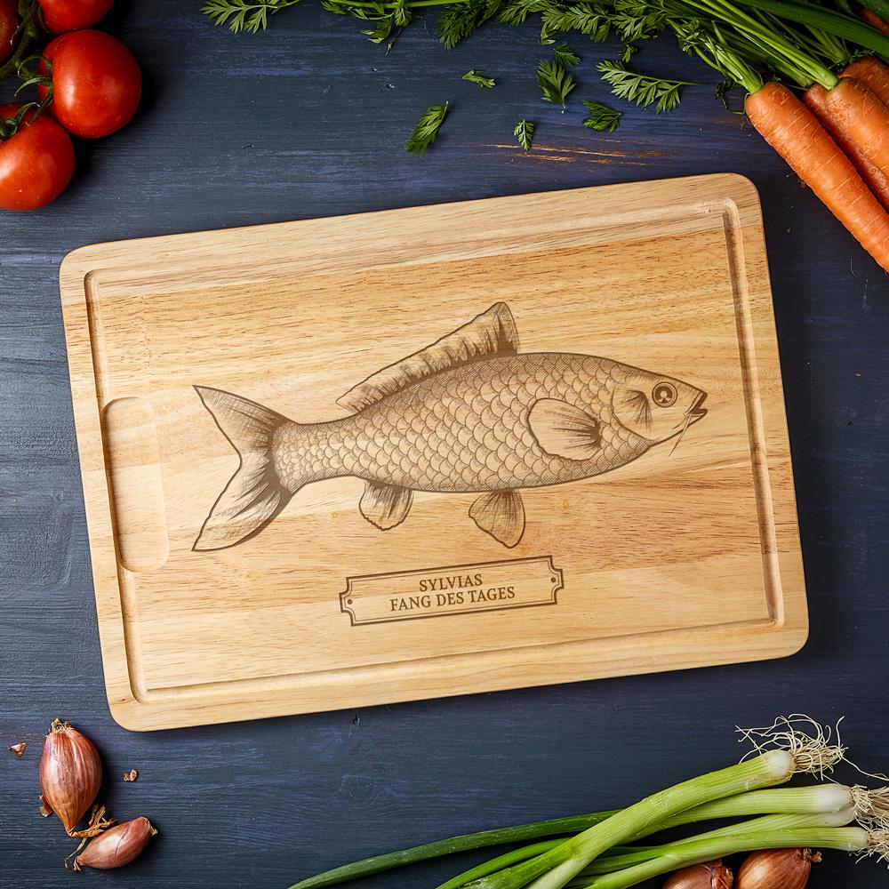 Grillbrett mit Gravur - Schneidebrett Fisch - Personalisiert
