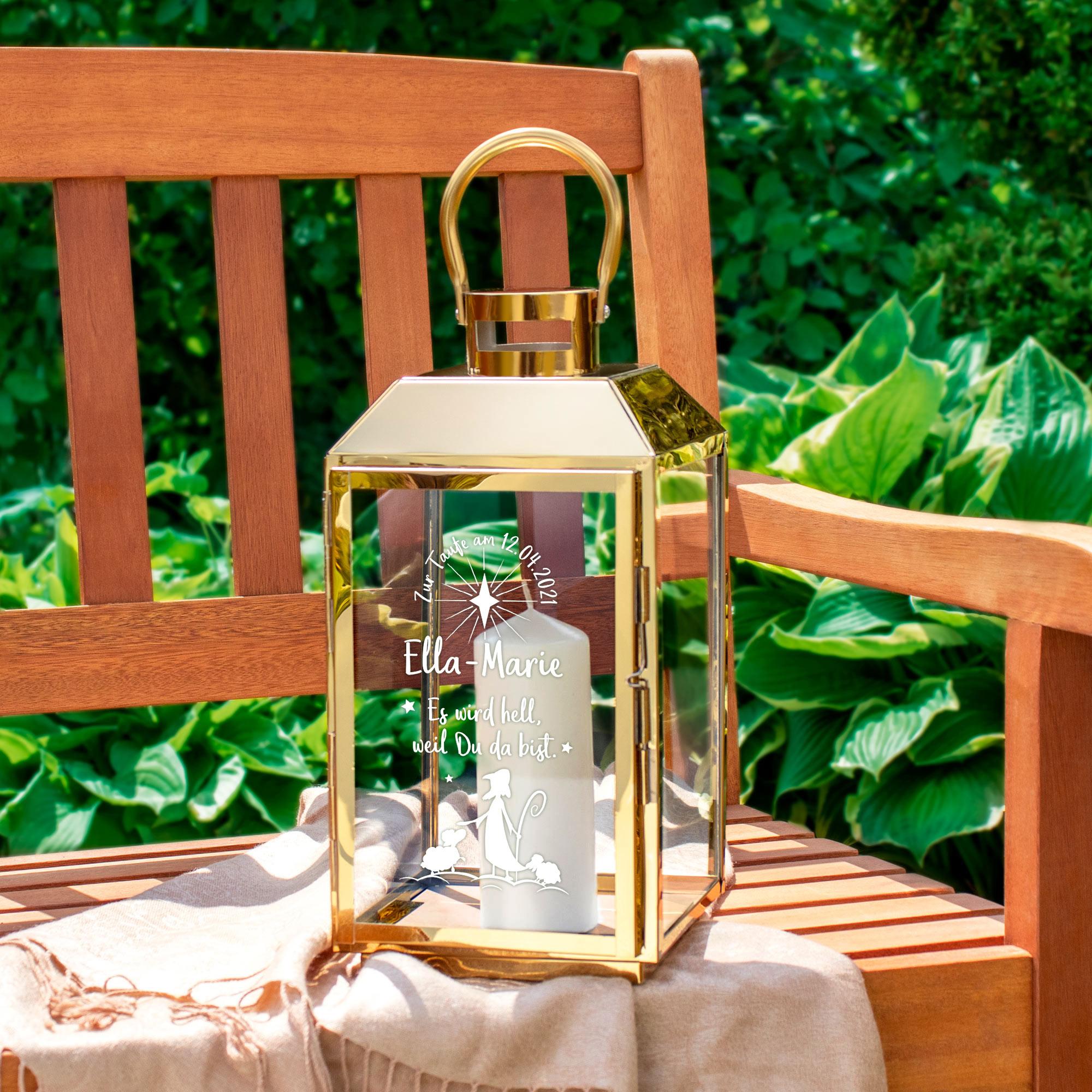 Laterne aus Edelstahl - Graviert mit Hirte zur Taufe - Personalisiert