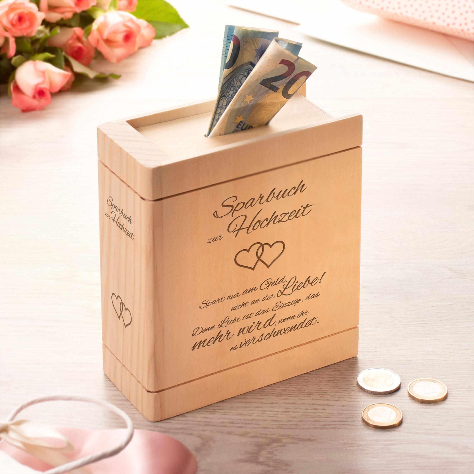 Spardose Buch aus Holz zur Hochzeit mit Spruch - Herzen - Personalisiert