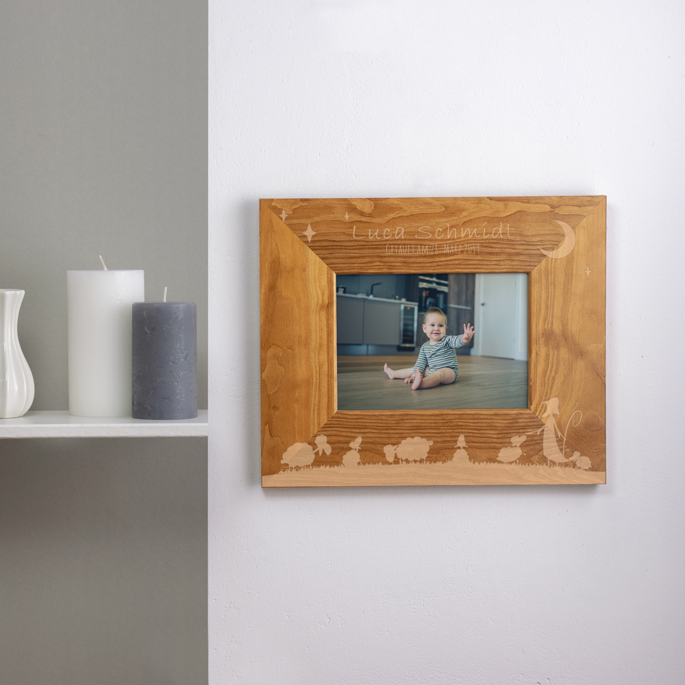 Bilderrahmen aus Holz mit Gravur zur Taufe - Hirte - Personalisiert