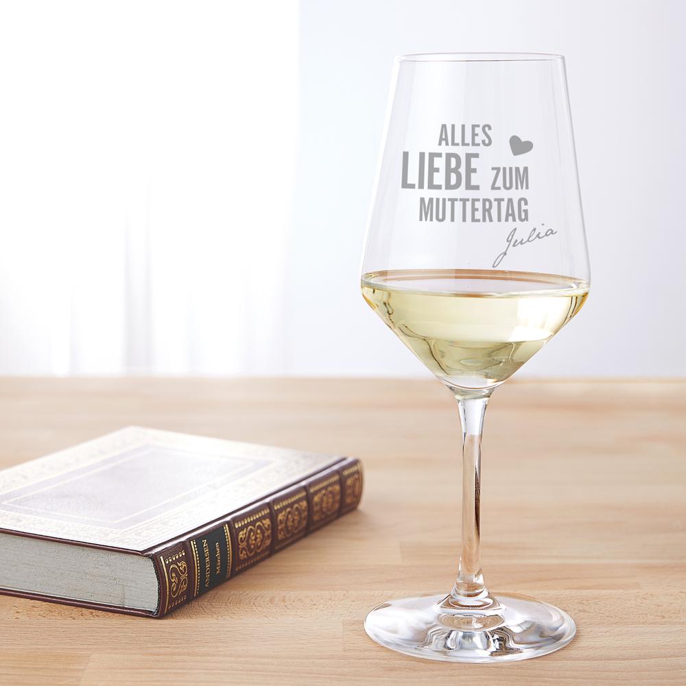 Weißweinglas mit Gravur - Muttertag - Personalisiert