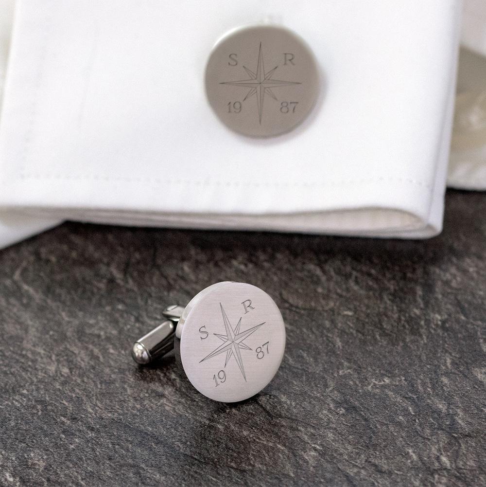 Runde Manschettenknöpfe mit Gravur - Kompass - Silber