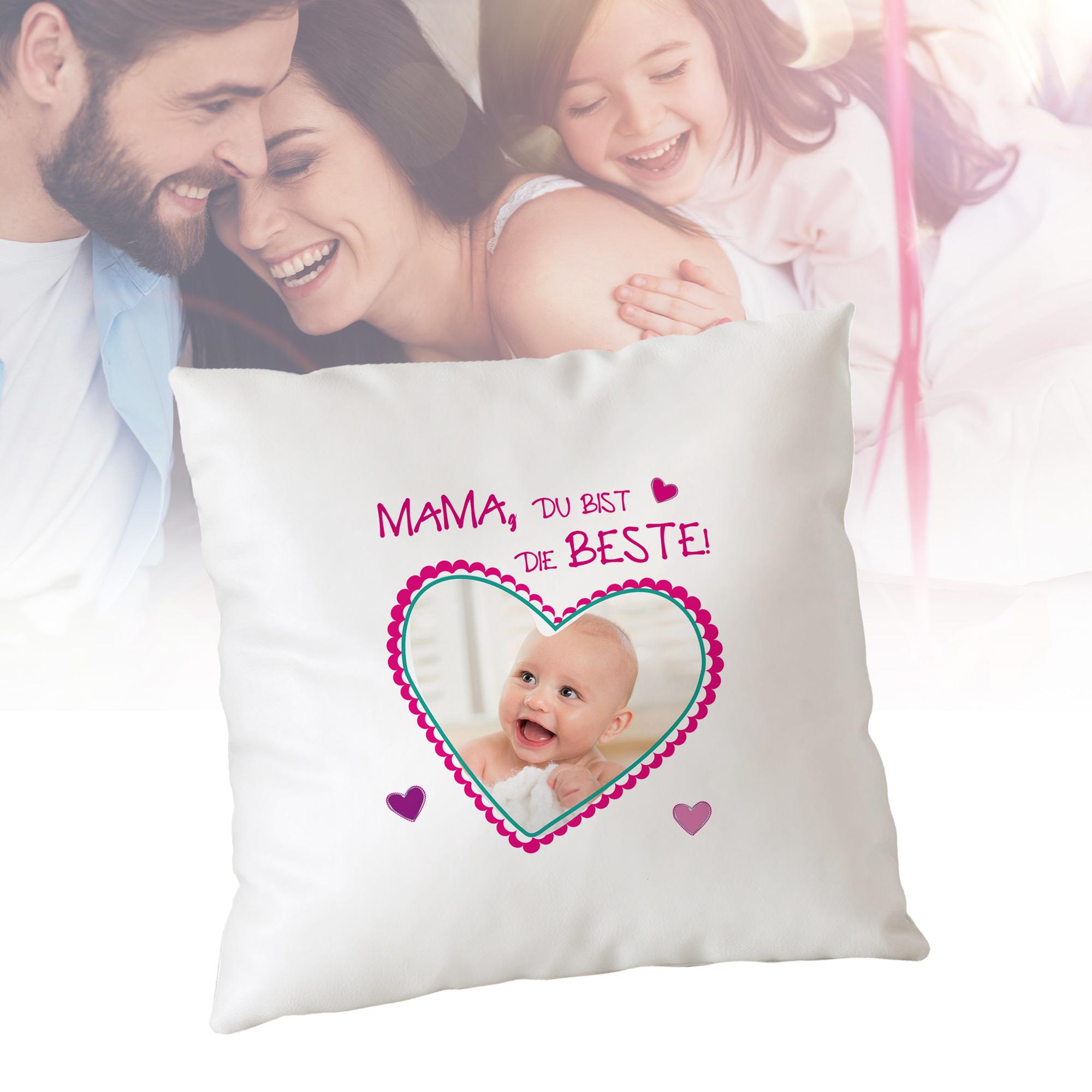 Kissen - Mama du bist die Beste - Fotoherz - Personalisiert