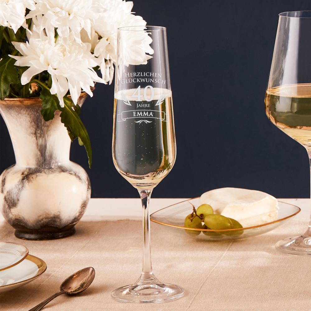 Sektglas zum 40. Geburtstag