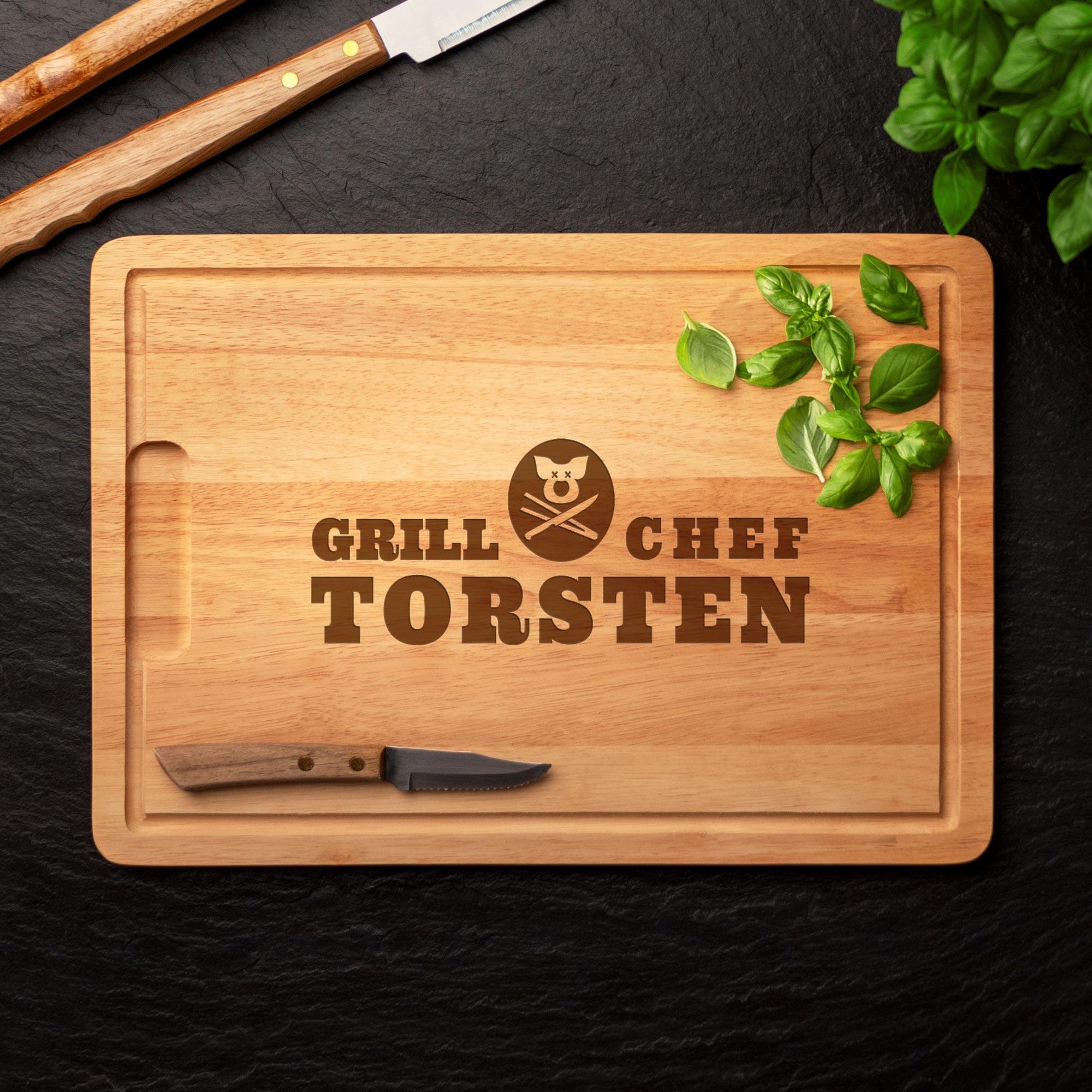Grillset Grillbrandeisen und Schneidebrett - Grillchef Gravur