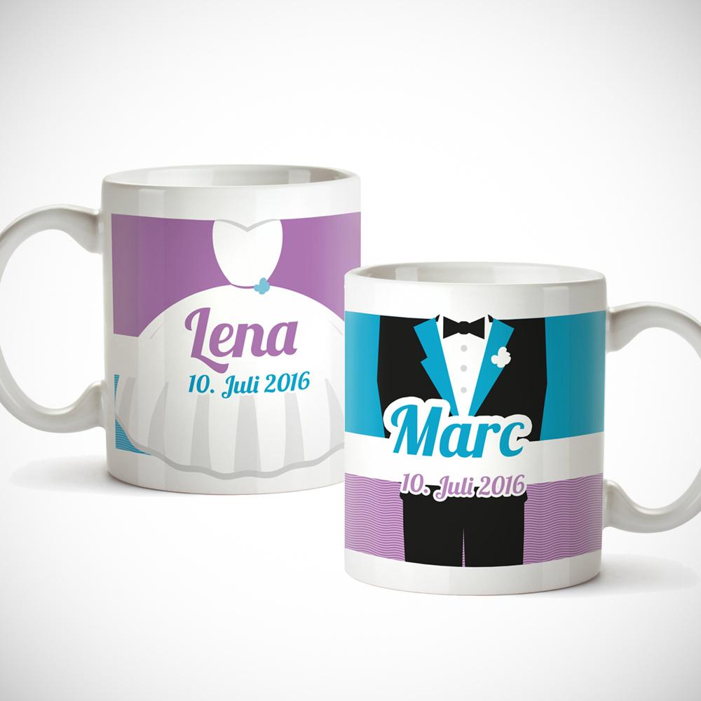 Tassen bedruckt zur Hochzeit - Brautpaar Bunt - Personalisiert