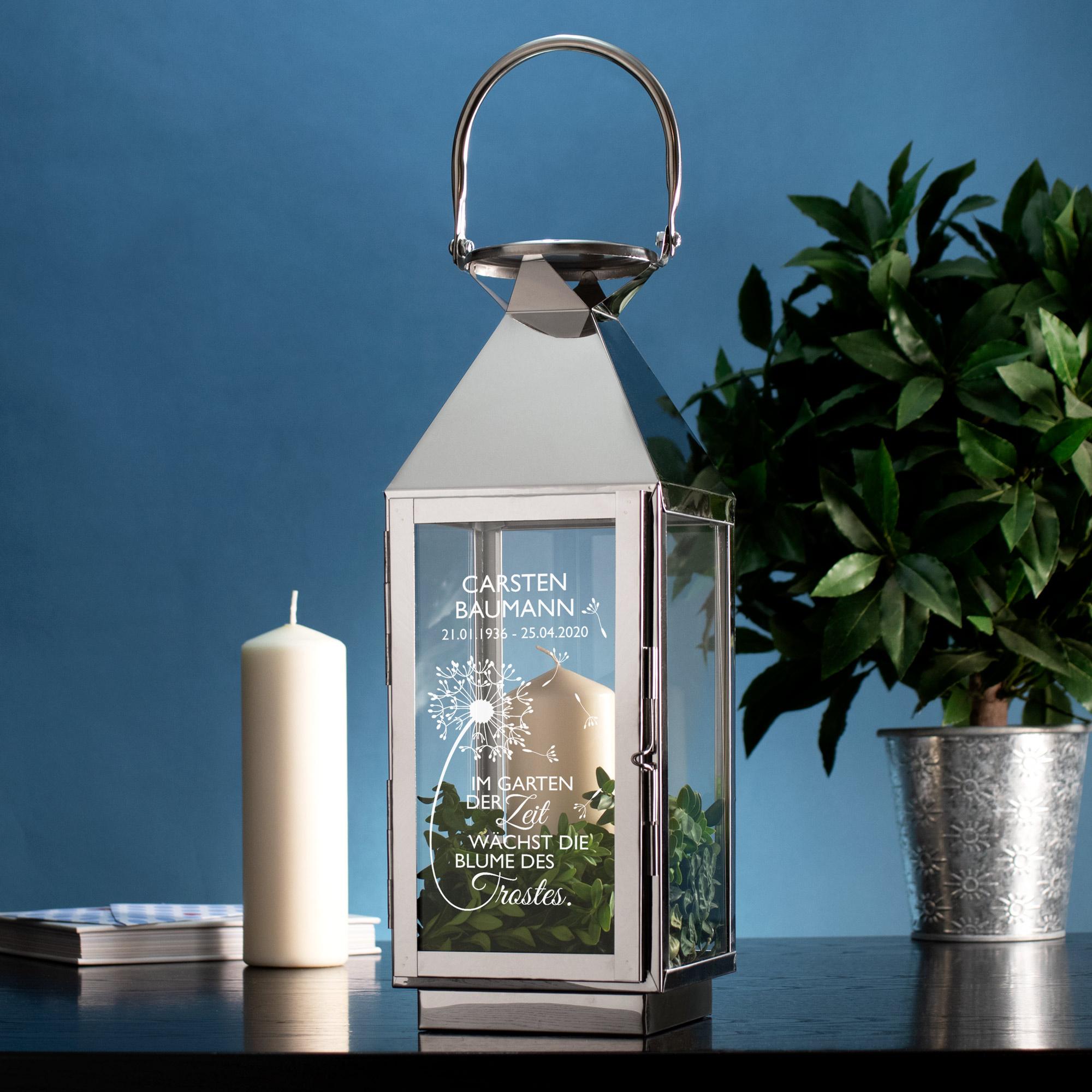 Laterne Silber - Trauer - Blume - Personalisiert