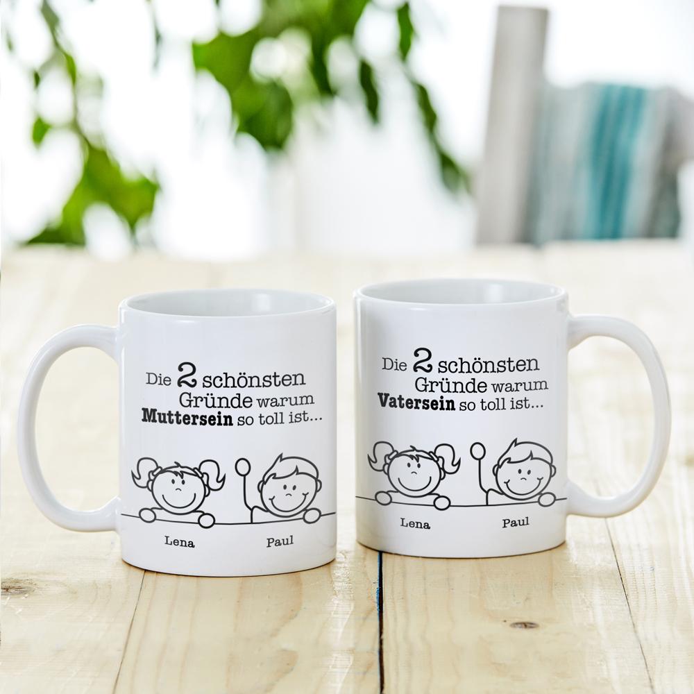 Bedruckte Tasse - 2er Set Gute Gründe für Eltern - Personalisiert