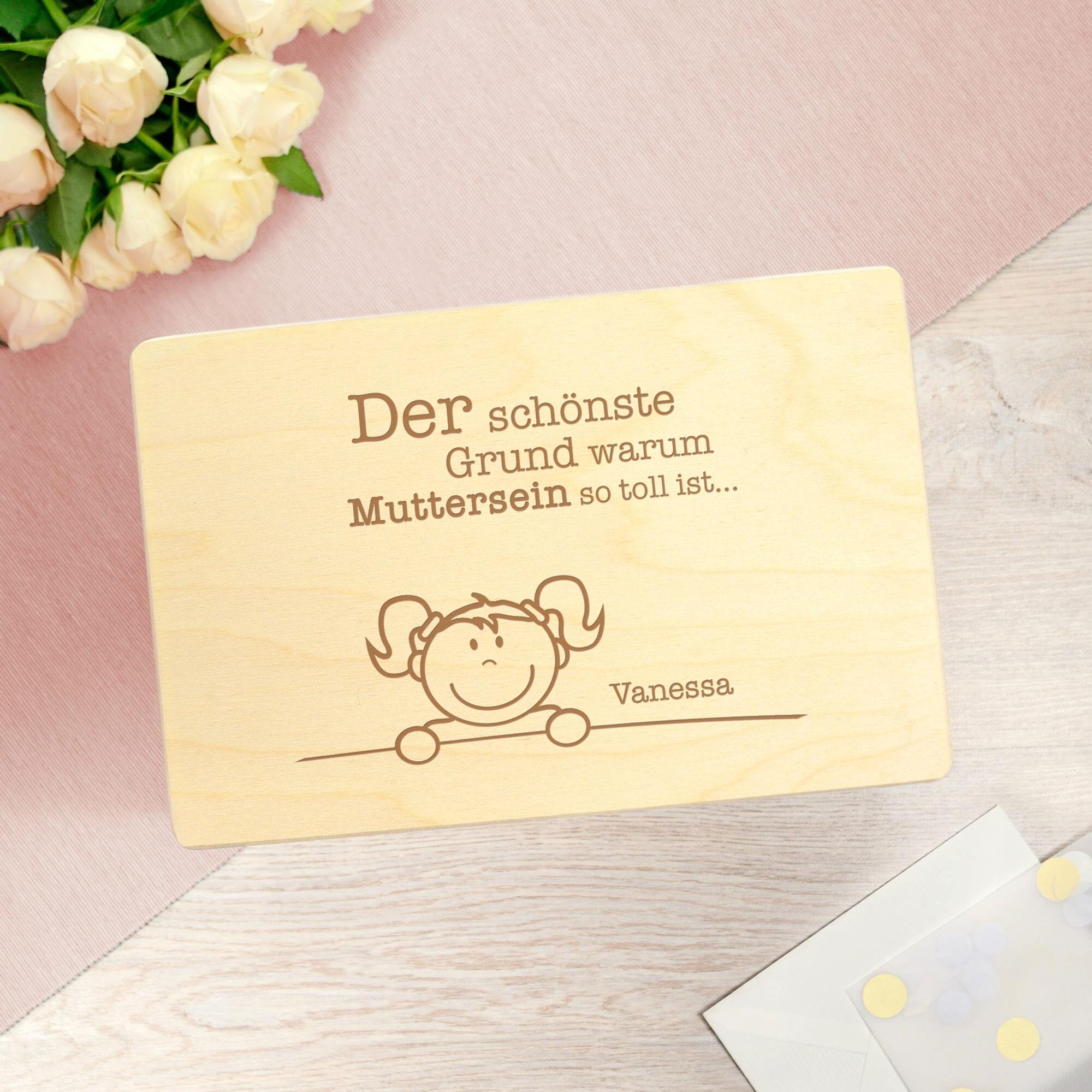 Personalisierte Erinnerungsbox mit Namensgravur - Muttersein